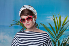 Pretty middle-aged woman dressed in sailor's style Stock Photography