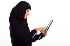 Middle eastern woman tablet Stock Photography