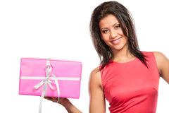 Pretty mixed race woman with box gift. Christmas Stock Photography