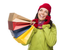 Pretty Mixed Race Woman Holding Shopping Bags On Cell Phone Looking Up Royalty Free Stock Images