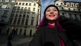 Pretty mixed race woman taking selfie in New York stock video footage