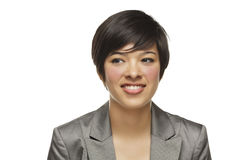 Pretty Mixed Race Young Adult on White Stock Photo