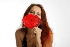 Pretty model and big red lips Stock Photography