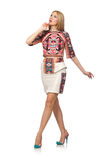 The pretty model in clothes with carpet prints isolated on white Stock Photography