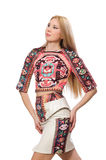 The pretty model in clothes with carpet prints isolated on white Royalty Free Stock Photography