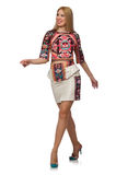 The pretty model in clothes with carpet prints isolated on white Stock Image