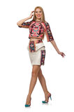 The pretty model in clothes with carpet prints  on white Stock Photo