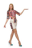 The pretty model in clothes with carpet prints  on white Stock Photography