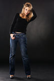 Pretty model in denims Royalty Free Stock Photography