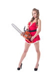 Pretty model dressed as Santa advertises chainsaw Royalty Free Stock Images