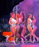 Pretty model girls podium defile Royalty Free Stock Image