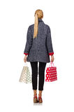 The pretty model in gray coat after shopping isolated on white Stock Image