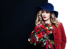 Pretty Model Holding Flowers Bouquet Stock Photography