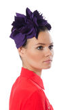 The pretty model with purple head accessory isolated on white. Pretty model with purple head accessory isolated on white Stock Photos