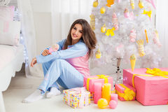 Pretty model in pyjamas Royalty Free Stock Images