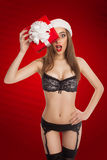 Pretty model in Santa Claus hat Royalty Free Stock Image
