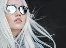 Pretty model in sunglassses outdoor Royalty Free Stock Images