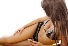 Pretty model wearing black bikini on white Stock Image
