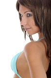 Pretty model wearing black bikini on white Royalty Free Stock Images