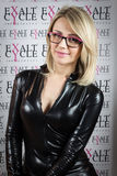 Pretty model wearing glasses at Mido 2014 in Milan, Italy Stock Photo