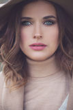 Pretty Model Woman Outdoors. Beautiful Woman with Makeup Stock Photos