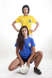 Pretty models fans for championship in brazil Stock Images