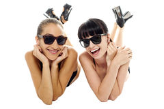 Pretty models having a good time together Stock Images