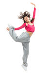 Pretty modern slim hip-hop style teenage girl jumping dancing Royalty Free Stock Image