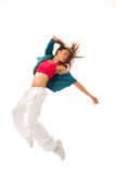 Pretty modern slim hip-hop style woman dancing Stock Photos