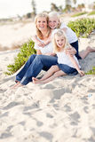 Pretty Mom and Her Cute Daughters at The Beach Royalty Free Stock Images