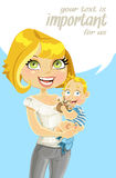 Pretty mom with son in arms with speech bubble Stock Image