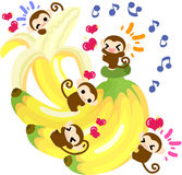 Pretty Monkeys Giant banana Royalty Free Stock Image