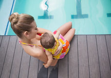 Pretty mother and baby at the swimming pool Royalty Free Stock Image