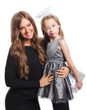 Pretty Mother and daughter isolated Stock Photo