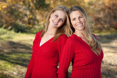 Pretty Mother and Daughter Portrait in Park Stock Photos