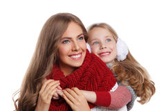 Pretty mother and daughter at winter Stock Image