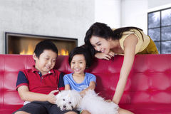 Pretty mother and kids playing their dog at home Stock Photos