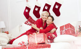 Pretty mother with son, christmas time. Stock Photography