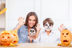 Pretty mother and son are having fun on Halloween Royalty Free Stock Image