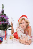 Pretty Mrs. Santa Clause Royalty Free Stock Photography