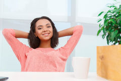 Pretty mulatto girl having rest Royalty Free Stock Images