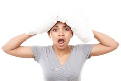 Pretty Mulatto Girl With Pillow On Head Stock Photography