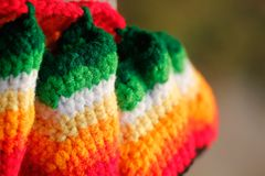 Pretty multicolored handwoven woolen dress closeup Royalty Free Stock Photos