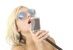 Pretty music singer Stock Image