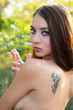 Pretty naked brunette Royalty Free Stock Image