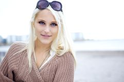 Pretty natural blond. Portrait of a pretty natural blond royalty free stock photos