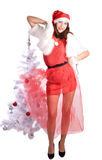 Pretty new year. Pretty young woman in xmas style stock image