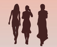 Pretty Nice Girls Walking. Nice Girls Silhouettes - vector Adobe Illustrator Royalty Free Stock Image
