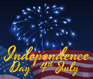 Pretty Night of July 4 with Fireworks and American Flag, Vector Illustration. Night of Independence Day with fireworks and golden greeting text and American flag Stock Photos