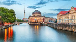 Pretty night time illuminations of the Museum Island in Berlin,. Germany stock image